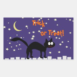 Halloween svart katt på staket rektangulärt klistermärke