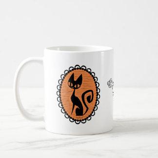 Halloween svart kattCameo Kaffemugg