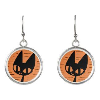 Halloween svart kattCameo Örhängen