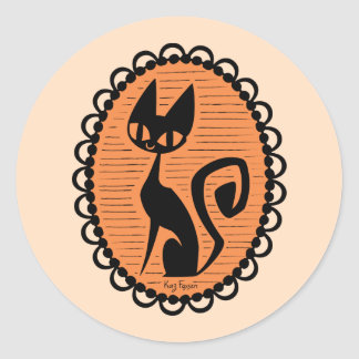 Halloween svart kattCameo Runt Klistermärke