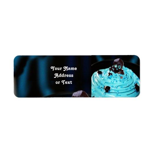Halloween svart skalle på blåttisläggningmuffin returadress etikett