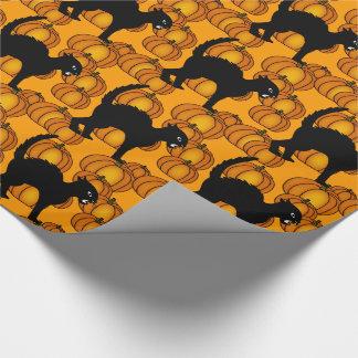 Halloween svarta katter & pumpor som slår in presentpapper