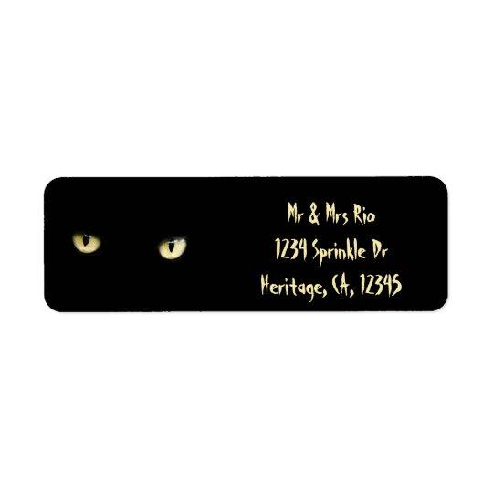 Halloween synar den svart katten beställnings- returadress etikett