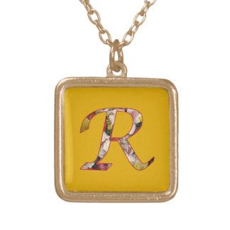Halsband för blom- design för Monogram initialt R