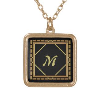 Halsband för Monogram för kvarterdiamant guld-