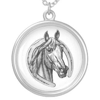 Halsband för vintagehäst- & hästskosterling silver