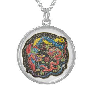 Halsband för Yin Yang drakesterling silver