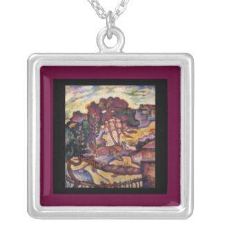 Halsband-Klassiker Konst-Georges Braque-Stora träd Silverpläterat Halsband
