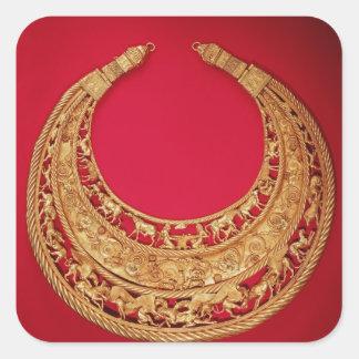 Halsband med herde- platser fyrkantigt klistermärke