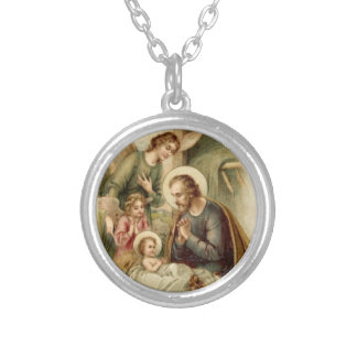 Halsband: St Joseph Nativity Silverpläterat Halsband