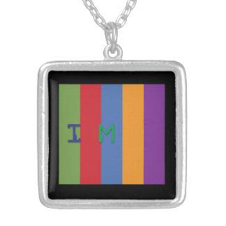 Halsbandhängesilver kvadrerar prisman kodifierar - silverpläterat halsband