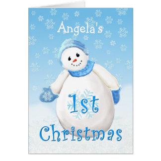 Hälsning C för snögubbe för jul för Hälsningskort