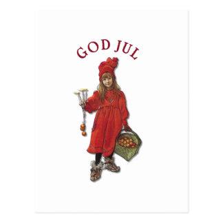 Hälsning för Carl Larsson Brita gudJul jul Vykort