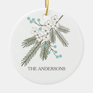 Hälsning för gräslövruska- & Mistletoepersonlig Rund Julgransprydnad I Keramik