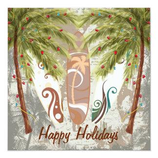 Hälsning för helgdagpalmträd- och fyrkantigt 13,3 cm inbjudningskort