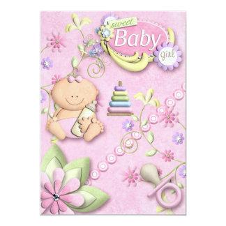 Hälsning för nyfödd bebisflickaUnvitation 12,7 X 17,8 Cm Inbjudningskort