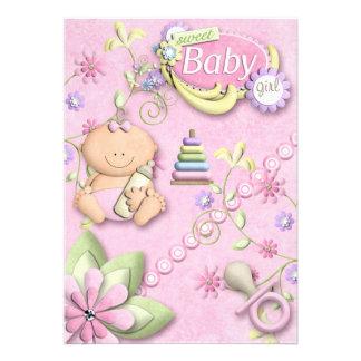 Hälsning för nyfödd bebisflickaUnvitation meddelan