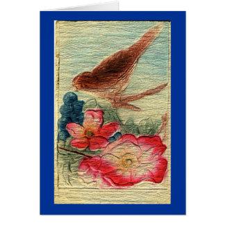 Hälsning för vintagefågel- & blommatillfällen hälsningskort