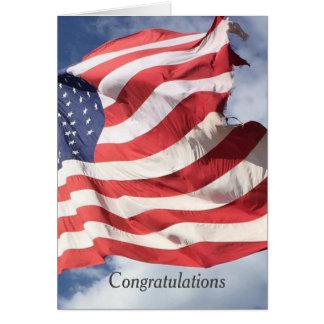 Hälsningar C för stars och stripesflaggagrattis Hälsningskort