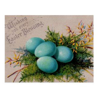 Hälsningar för blåttäggpåsk vykort