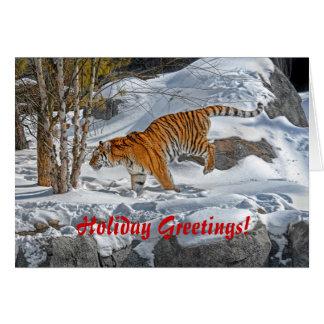 Hälsningar för helgdag för tigersnögalopp hälsningskort