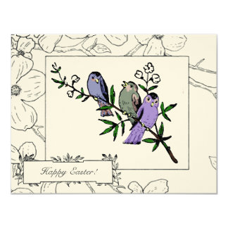 Hälsningar för vintagefågelpåsk 10,8 x 14 cm inbjudningskort