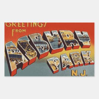 Hälsningar från Asbury parkerar NJ Rektangulärt Klistermärke