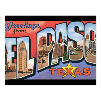 Hälsningar från El Paso Texas_Vintage reser Vykort