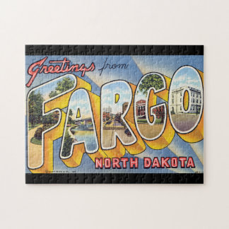 Hälsningar från Fargo norr Dakota_Vintage reser Pussel