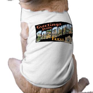 Hälsningar från San Antonio Texas Retro vykort T-shirt För Husdjur