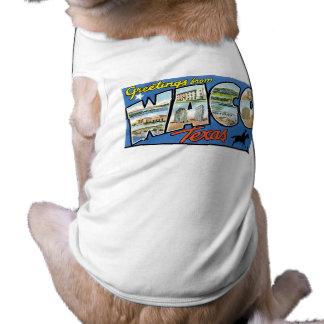 Hälsningar från Waco Texas Retro vykort T-shirt För Hundar