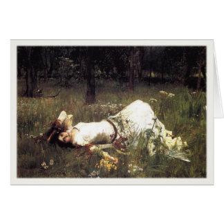 Hälsningar med John William Waterhousemålning Hälsningskort