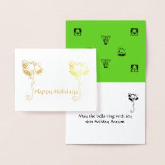 Hälsningkort - jul Klockor Folierat Kort