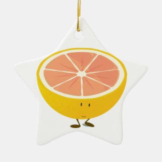 Halv grapefrukt som ler teckenet julgransprydnad keramik