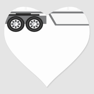 Halv lastbil och flatbed hjärtformat klistermärke