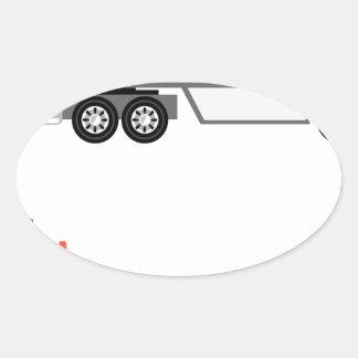Halv lastbil och flatbed ovalt klistermärke