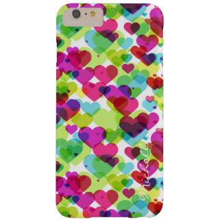 halva genomskinliga färgrika hjärtor med namn barely there iPhone 6 plus skal