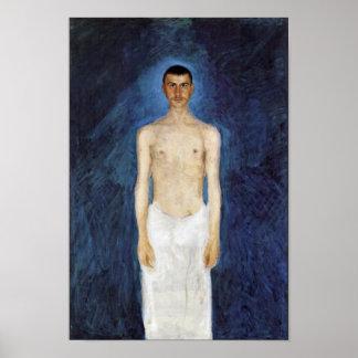 Halva-Nakenstudie självporträtt mot en Poster