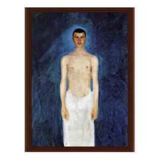 Halva-Nakenstudie självporträtt mot en Vykort
