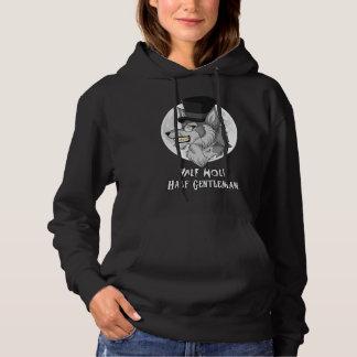 Halva-Varg Halva-Gentleman kvinna Hooded tröja