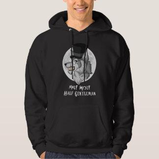 Halva-Varg Halva-Gentleman manar Hooded tröja