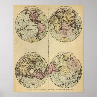 Halvklot räcker den kulöra kartbokkartan poster