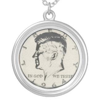 Halvt dollarhalsband för JFK Silverpläterat Halsband