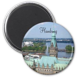 Hamburg stadshus magnet rund 5.7 cm