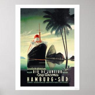 Hamburg till Rio de Janeiro på locket Arcona Poster
