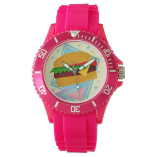 Hamburgare för Cheeseburger för Kawaii gullig Armbandsur