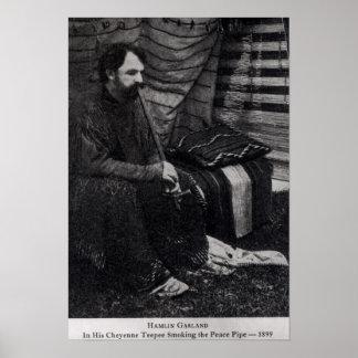Hamlin girland i hans röka för Cheyenne Teepee Poster