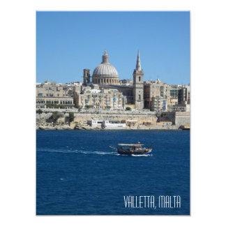Hamn Malta för Valletta horisontLuzzu fiskebåt Fototryck