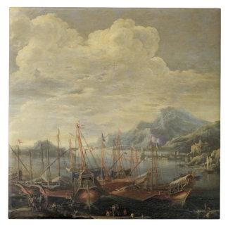 Hamn med fyren och frakter (olja på kanfas) kakelplatta
