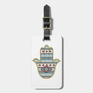 HAMSA räcker av den Fatima symbolamuletten, stam- Bagagebricka